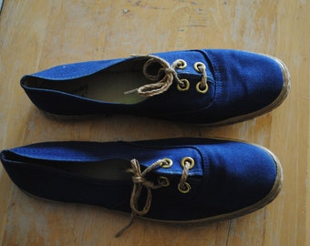 Vintage Blue Canvass Boat shoes by JCPenny