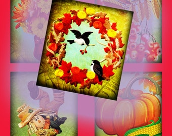 Digital Collage of Gold autumn- 70 0.75 inch x 0.83 inch scrabble tile images for scrabble