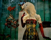 Teal and Red Photo, Mannequin Display, New York City, Anthropomorphic Bird, Colorful Photography, Photography Print
