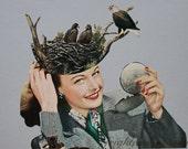 Vintage Paper Art, Bird's Nest, Collage on Paper, Surreal Art, Retro Art, Gray Wall Decor, Original Art