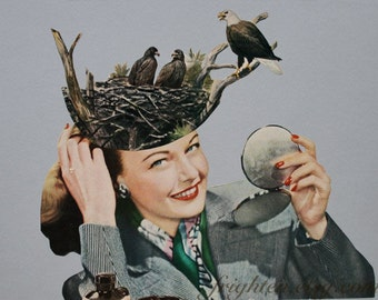 One of a Kind Retro Bird Art Surreal Paper Collage Woman with Eagle's Nest Hat