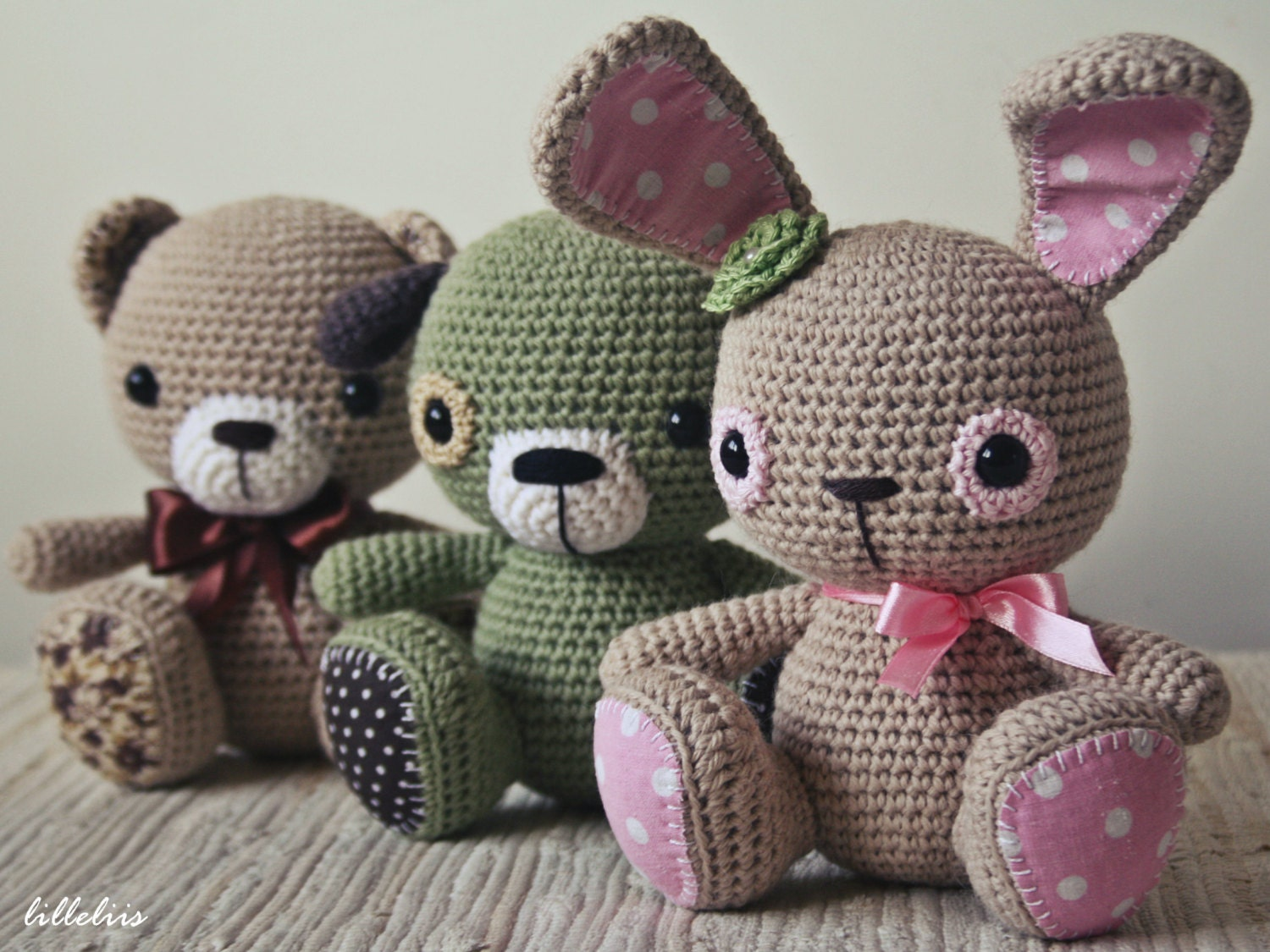 Amigurumi Askina Etsy : PATTERN Amigurumi cuties bunny puppy and teddy by lilleliis