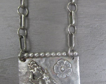 Barrel Racer Sterling Silver cowgirl horse necklace