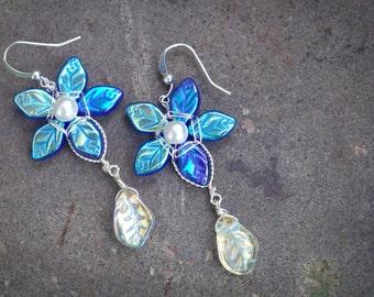 Sapphire Star Flower Earrings