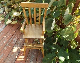 Sale Wooden doll high chair, photo prop, doll furniture, antique High Chair.doll collection, photo shoot, nursery decor.Conn. Launa