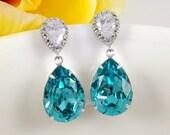 Teal Blue Earrings - Light Turquoise Swarovski Crystal Teardrop Cubic Zirconia Bridal Earrings Sterling Silver Earposts Wedding Bridesmaids