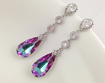 Purple Bridal Earrings, Swarovski Vitrail Light Cubic Zirconia Long Dangle Wedding Earrings