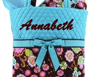 Personalized Diaper Bag 3pc Brown Turquoise Floral