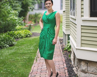 Vintage Wiggle Dress - Emerald Green Dress - Taffeta Dress - Mad Men