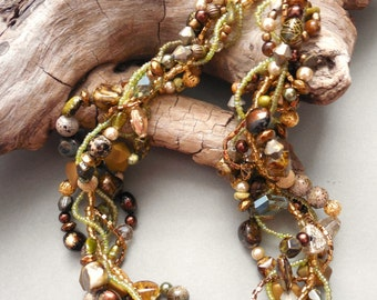 Multi strand chunky necklace in earth tones, Autumn necklace, statement necklace, earth tones, green, gold, brown, twisted: April Forest