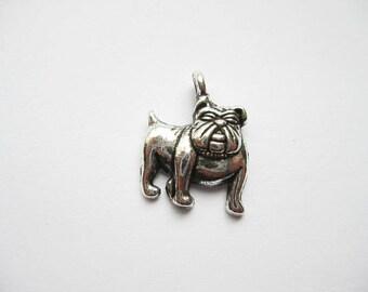 10 Bulldog Charms in Silver Tone - C275