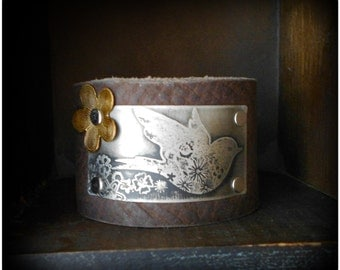 Etched Sparrow Leather Cuff Bracelet