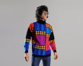 vintage 90s sweater color block unisex jumper Mondrian style geometric stained glass 1990 IB Diffusion medium Lucky 7