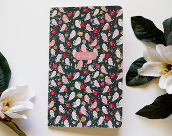 Moleskine Notebook Feminist Floral / Sketchbook / Journal / Notepad- Illustrated Girls Feminist Foliage Pattern