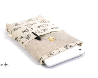 Double padded tablet sleeve--natural linen