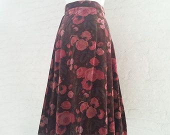 1970s Rose Floral Velvet Wrap Skirt 70s Vintage Pink Brown Boho Garden Party Megan Draper Mad Men Fall Full Circle Holiday Party Skirt