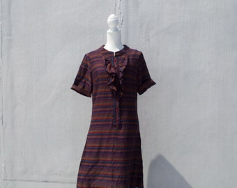 1960s Mod Tuxedo Ruffle Rainbow Striped Dolly Dress 60s Vintage Multicolor Purple Red Cotton Shift Dress Large Fall School Girl Shirt Dress