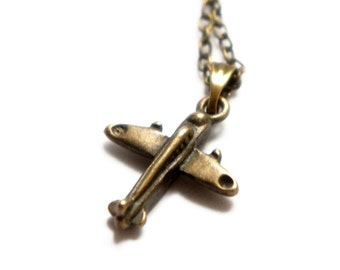 SALE Antiqued Brass Cute Tiny Toy Plane Pendant Necklace - C0005