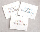 Christmas Card Set of 10 - Vintage Inspired Typography - Merry Christmas, Happy Holidays OR Happy Hanukkah - New Year Card