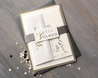 "Industrial Wedding Invitations, Modern Wedding Invitations, Elegant Script Wedding Invitations - ""Modern Black & White Love""  Sample"