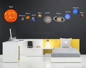 Children Solar Planets Wall Sticker Living Room Office Outer Space Decals - Solar Planet System -  Sun Earth Mars Stars Wall Arts prt0014