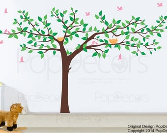 Baby Nursery Tree Wall Decals Kids Room Wall Decors - Colorful Super Big Tree(133inch W) - Children Tree Wall Mural Playroom Wall Art pt0129