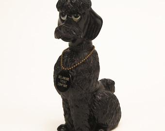 Vintage black plastic poodle bank - vintage bank premium - Delaware Trust Company - dog bank