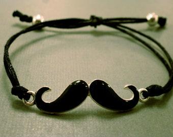 Mustache Bracelet: Adjustable Mustache Bracelet, Choose your own Colour, Colour Option, Charm Bracelet
