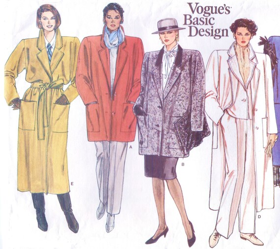 1990s Womens Classic A-Line Button or Wrap Coat Vogue's Basic Design Sewing Pattern 1446 Size 14 Bust 36 Vintage 90s Sewing Patterns