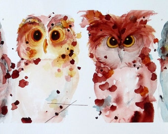 Bird Art,  Four Owls Watercolor Print, Large Owl Art Print