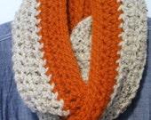 Chunky Infinity Scarf, Loop Scarf, OATMEAL Neck Warmer, Orange Stripe Scarf Crochet