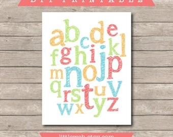 Nursery Kids Letters Printable - DIY Instant Download - Playroom Decor