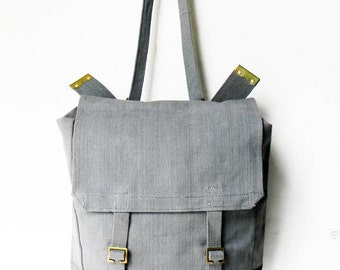 Vintage Military Backpack Bag Post WWII 1958 British Military Gray Rucksack Tote Bag Backpack