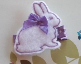 White Lavender Easter Rabbit Bunny Spring Felt Hair Clippie Babies-Toddlers-Girls