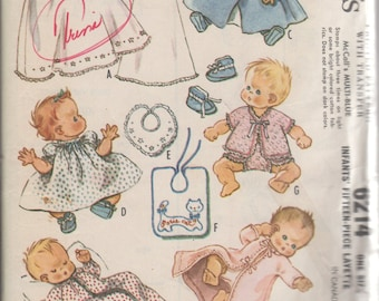 1961 Infants' Fifteen-Piece Layette McCall's 6214 One Size