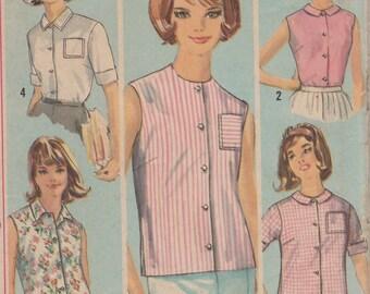 1960's Misses' Blouse Simplicity 5285 Size 14 Bust 34