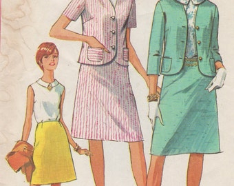 1966 Misses' Jacket, Skirt and Blouse Simplicity 6549 Size 16 Bust 36