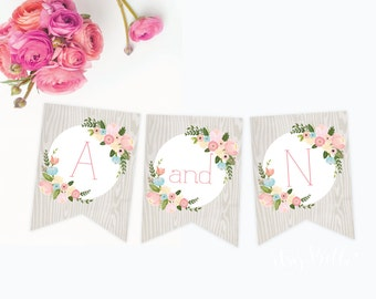 Woodland Floral banner - PRINTABLE INSTANT DOWNLOAD by Itsy Belle