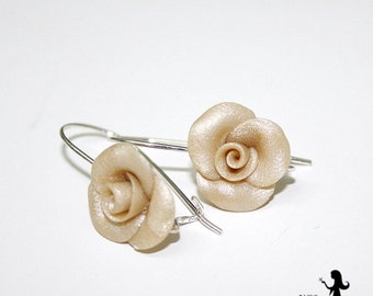Cream Bridal rose earrings - Bridal cluster earrings - Wedding earrings - Custom order