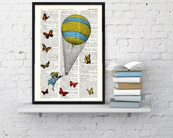 Summer Sale Alice in wonderland - Alice in wonderland Balloon and Butterflies collage -  Print on Vintage Dictionary Book art ALW024