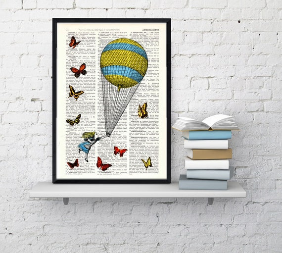 Alice in wonderland - Alice in wonderland Balloon and Butterflies collage -  Print on Vintage Dictionary Book art ALW024