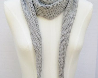 Cotton Linen Karius scarf grey hand knitted