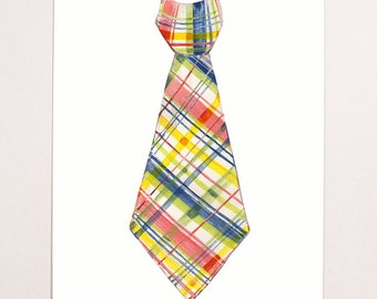 Little Man Ties Wall Art- red+blue+yellow plaid necktie giclee print 11x14