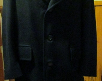Mens Dark Blue 100 Percent Wool Full Length Coat Size 42 Regular Excellent Condition Made in Canada