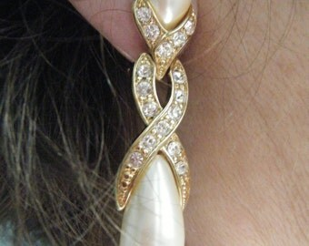 Vintage Faux Pear and Rhinestone Clipl Earrings  , Bridal and Black Tie Jewelry