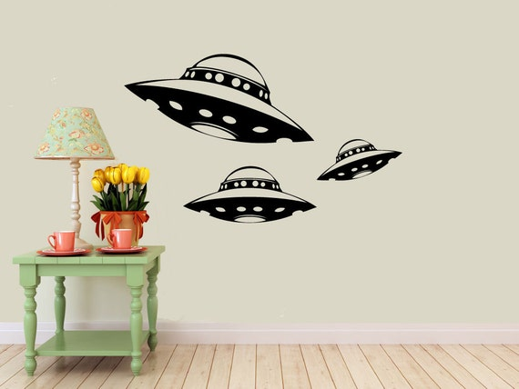 3 alien spaceship vinyl wall decals ufo interior design