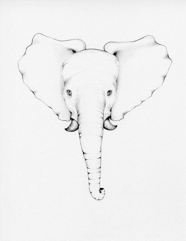 Minimalist Elephant Drawing: Nursery Art Print Modern Minimalist Nursery Art Print Art For