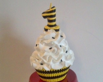 Bumble bee theme first birthday fake cupcake photo prop for Artificial bees for decoration