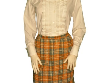 Size 2 / XS / Extra Small Jantzen Orange, Blue-Gray, and Cream Plaid Wool Skirt / Made in USA