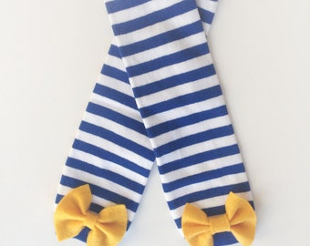 Hanukkah Baby Leg Warmers, Blue and White striped leg warmers